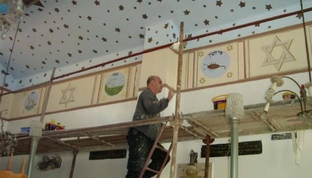 ציורים בבית כנסת על ידי הלל לזרוב