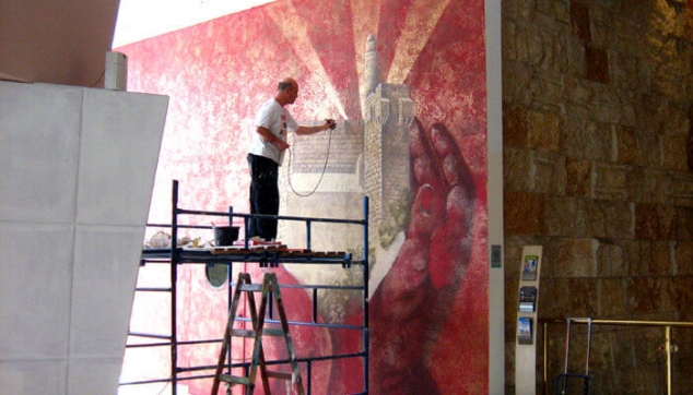 ציור מגדל דוד בתהליך