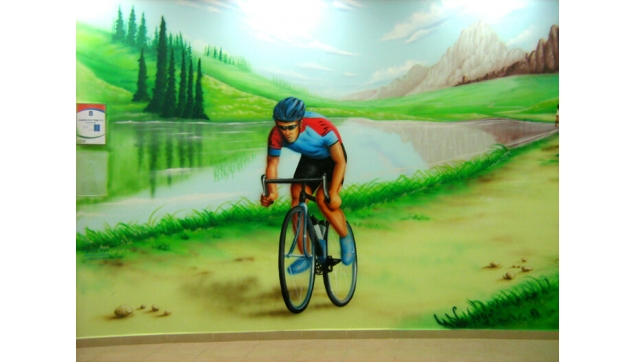 ציור קיר בחדר המתנה בבית חולים