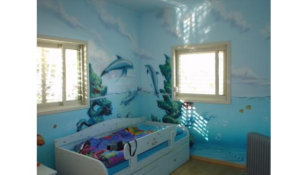 ציור קיר במרפאה חדר דולפינים