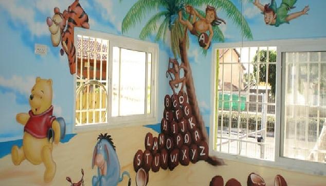ציור קיר לילדים פה הדב