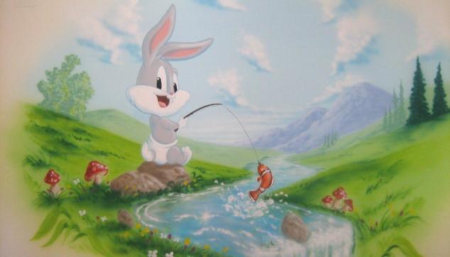 ציור קיר לילדים באגס באני