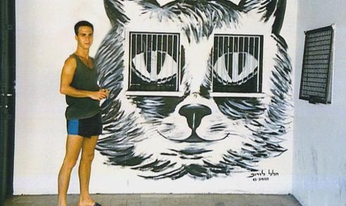ציור של חתול על קיר