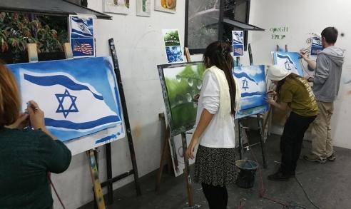 תלמידים בשעת ציור באיירבראש